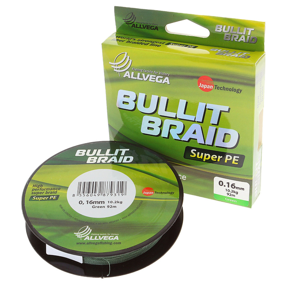 Плетеный шнур Allvega Bullit Braid 92M Dark Green